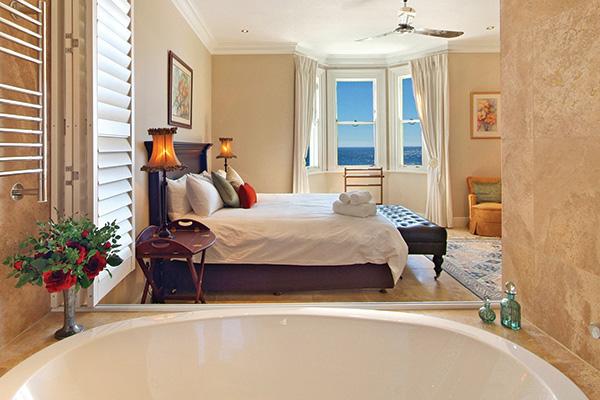 Villa Main bedroom from en suite bathroom to sea view